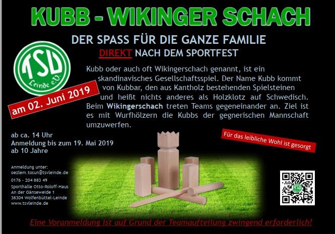 Anmeldung zum KUBB Turnier beim Sportfest bis 19.05.2019