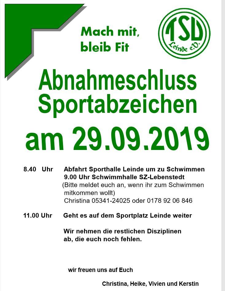 Letzter Termin in diesem Jahr zur Sportabzeichenbnahme 29.09.2019