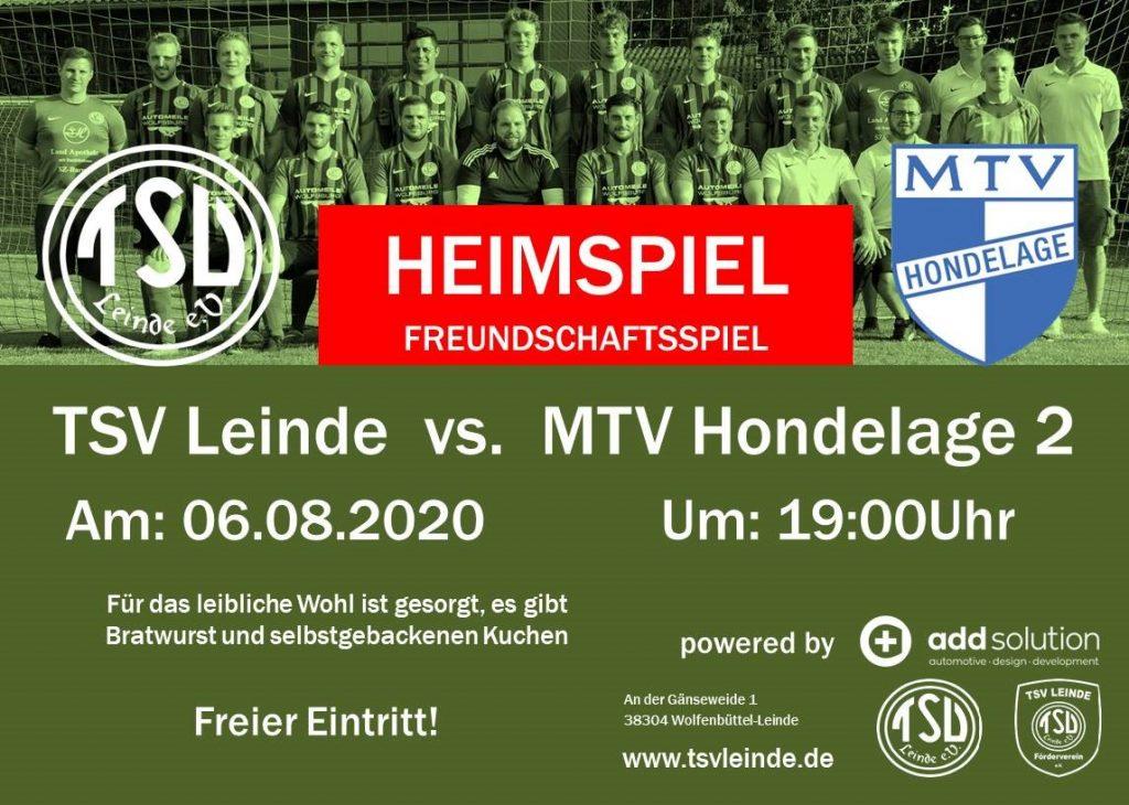 Freundschaftsspiel  1. Herren gegen MTV Hondelage am 06.08.2020