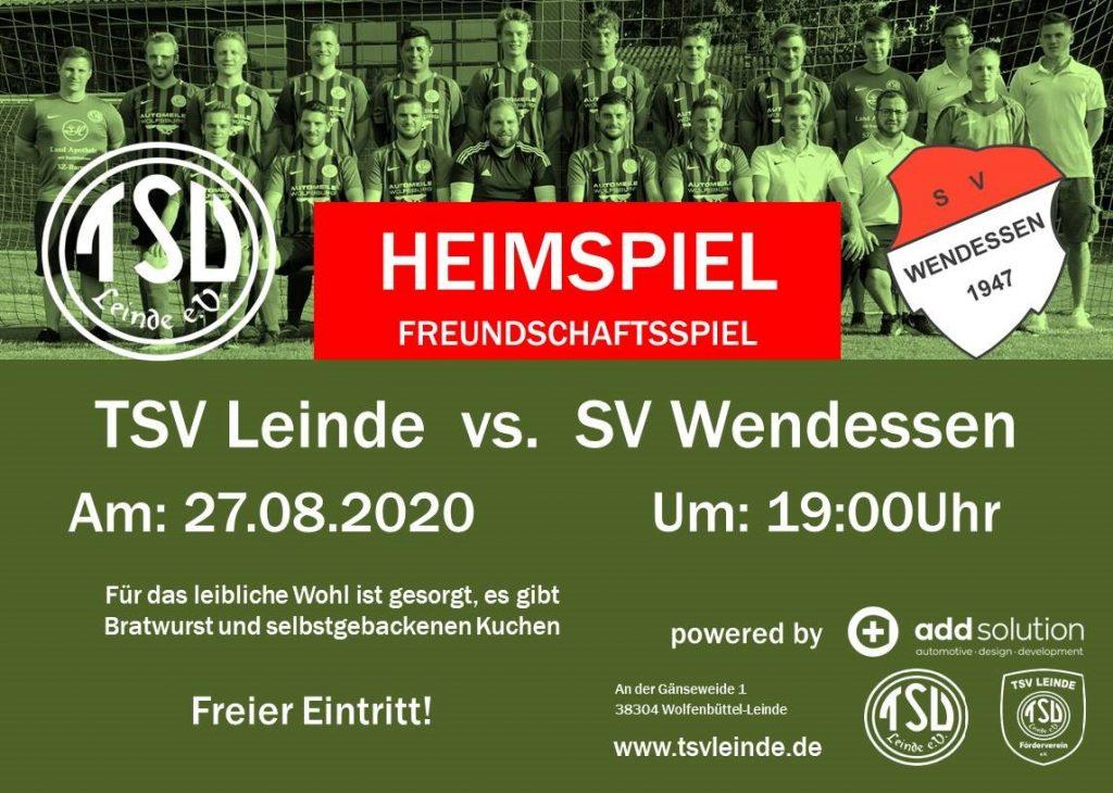 Freundschaftsspiel  1. Herren gegen SV Wendessen am 27.08.2020